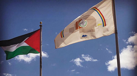 Navajo Pres. Sides with Kit Carson on Palestine